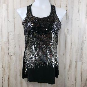 Dressbarn Women Top Black Silver Gold Black Sequin